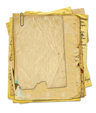 threadbare: set old paper in scrapbooking style on white isolated background