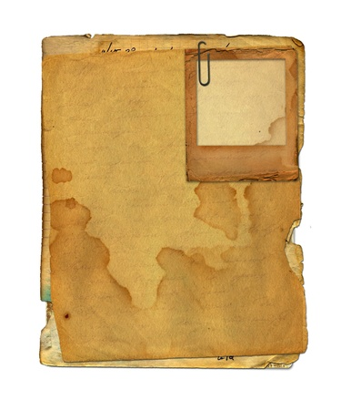 old notebook: Slide with set old paper in scrapbooking style on white isolated background Stock Photo