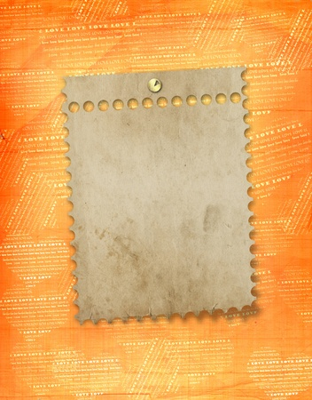 february 14th:  old paper frame in scrapbooking style on abstract grunge background