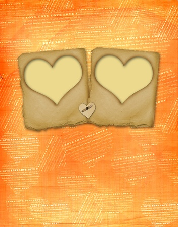 Old paper slides in the form of hearts on abstract grunge background photo