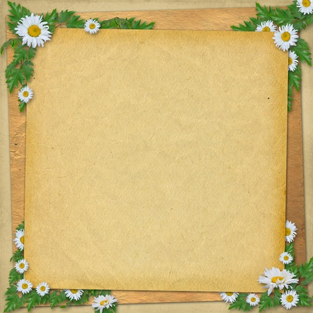 Grunge paper in scrapbooking style with bunch of daisy photo