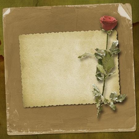 Tarjeta de felicitaci�n o invitaci�n con corazones de rojo y Rosa Roja Foto de archivo - 8835262