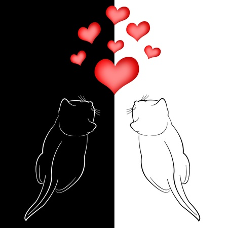 Two in love cats and red hearts on white background photo