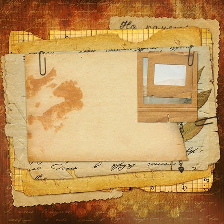 Abstract ancient brown background with set old paper in scrapbooking style photo