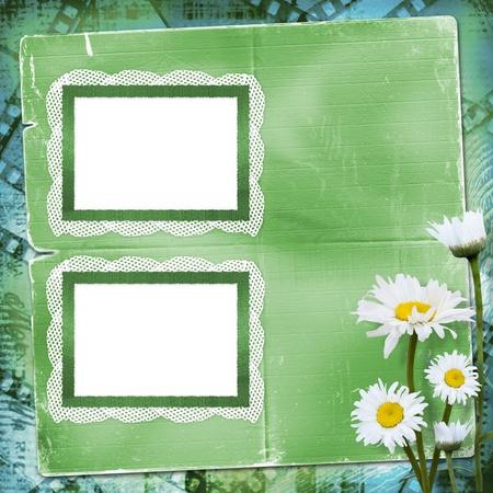 Cornici di pizzo con un mazzo di fiori su sfondo blu Archivio Fotografico - 8835260