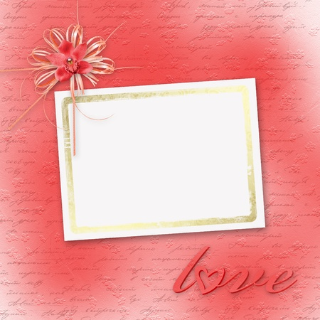 february 14th: Card for invitation or congratulation with red orchids Stock Photo