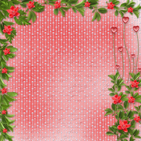 Card for invitation or congratulation with red orchids photo