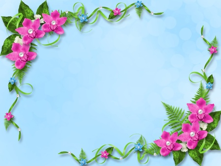 Card for invitation or congratulation with blue and pink orchids photo