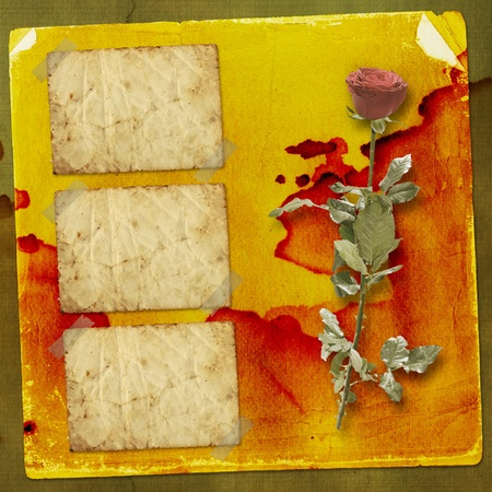 Card for congratulation or invitation with red hearts and red rose photo