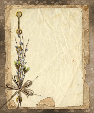 adorning: Vintage album with bunch of willow and bow Stock Photo