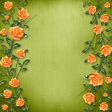 grunge paper for congratulation with painting rose photo