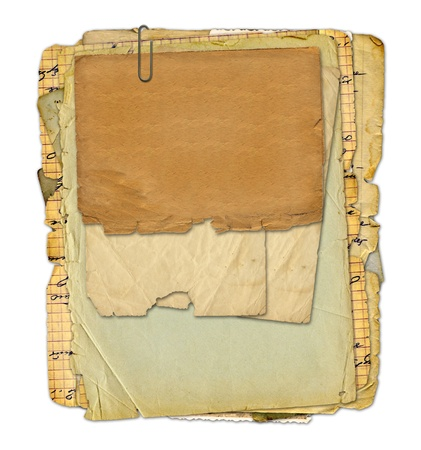old notebook: Old archive with letters, photos on the white isolated background Stock Photo