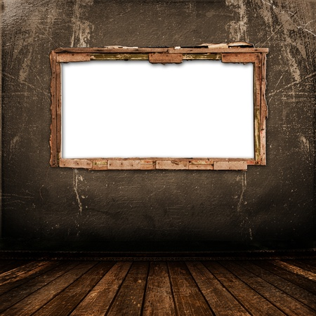 grunge interior: Ventana antigua en la pared antigua con metal u�as