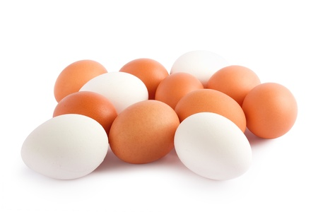 Eggs isolated on white background close up photo