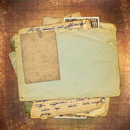 correspondencia: Abstracta antiguo fondo marrón en estilo de scrapbooking  Foto de archivo
