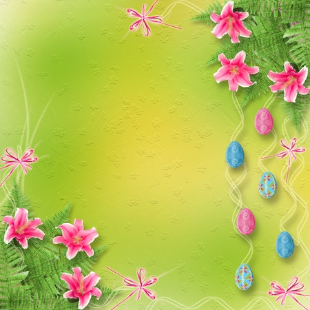 Pastel background with colored eggs and lilies to celebrate Easter photo