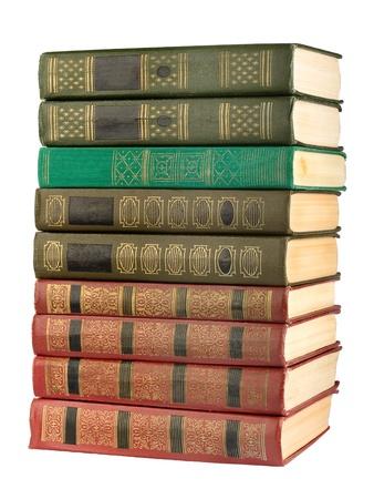 leerboek: Oude antieke boeken op de witte geïsoleerde achtergrond