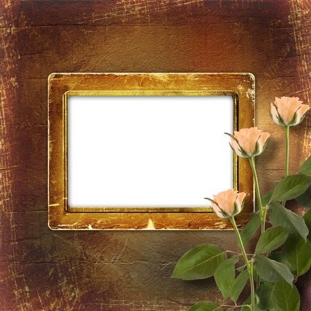 grunge paper for congratulation with cream roses photo