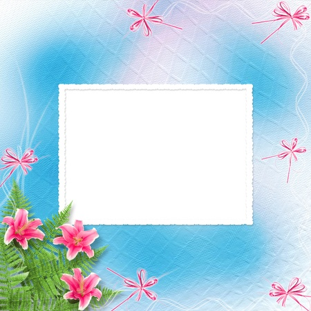 Card for invitation or congratulation with pink lilies photo