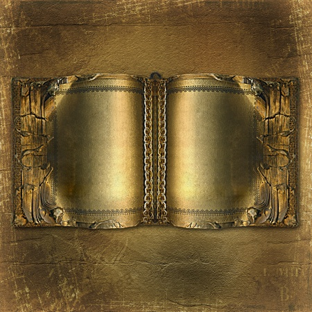 album page: Old ancient book with gold pages on the abstract background Stock Photo