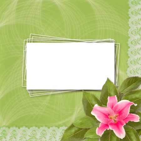Beautiful pink lily flower on the abstract background with lace photo