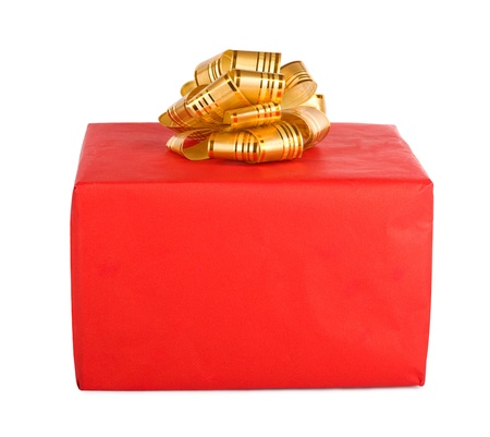 Holiday gift box decorated with ribbon isolated on white background. photo