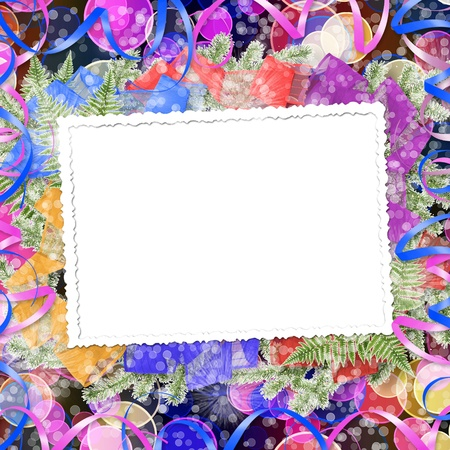 trumpery: Abstract blur boke background with paper frame and bunch of twigs Christmas trees Stock Photo