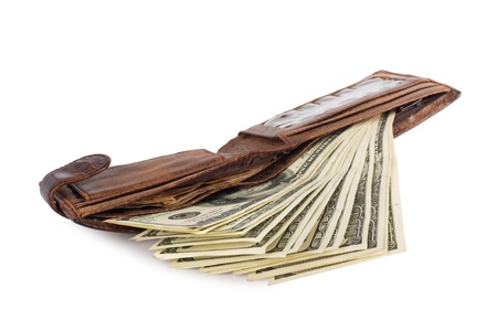 money and portmane on the white isolated background
