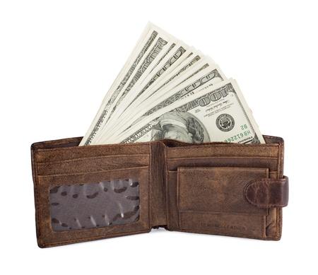 Money and portmane on the white isolated background photo