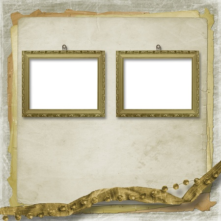 Picture brown frame with a decorative victorian pattern photo