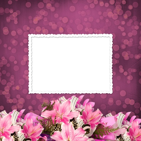 Grunge paper for invitation or congratulations with a bouquet of pink lilies photo
