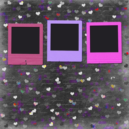 Old grunge slides on the cheerful multicolored background photo