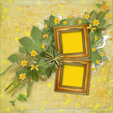 Old wooden frame for photo with bunch of flower photo