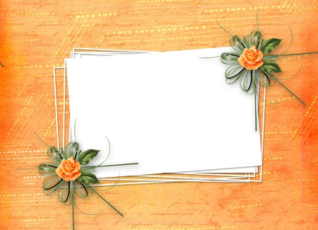 grunge paper for congratulation with painting rose Stock Photo - 9485109