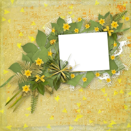 Card for invitation or congratulation with bunch of flower photo