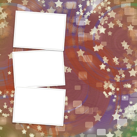 multicoloured backdrop for greetings or invitations with frames and stars photo