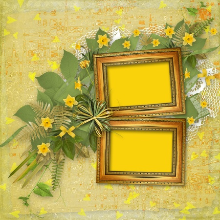 Old wooden frame for photo with bunch of flower Stock Photo - 9515328