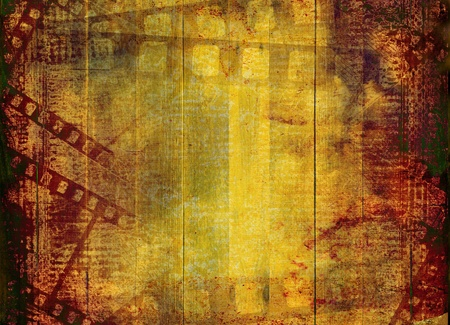 old movies: Old filmstrip on the paper abstract background