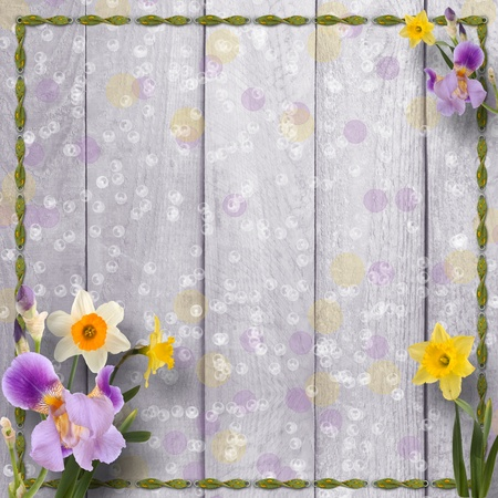 irises: Old wooden background with frame and bunch of flower