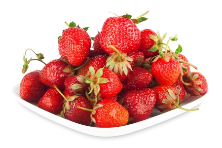 Fresh ripe strawberries on a white background isolated photo