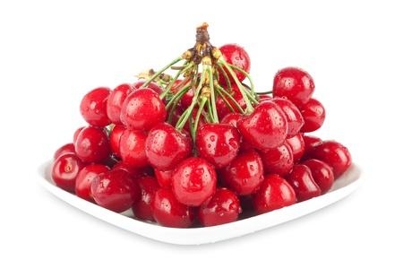 Fresh ripe cherries on a white background isolated Stok Fotoğraf