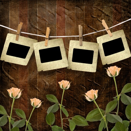 Grunge wooden background  with slides and beautiful rose photo