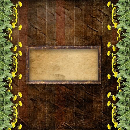 wild nature wood: Wooden abstract background with flowers of dandelion