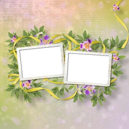 Old newspaper background with frame and bunch of flower photo