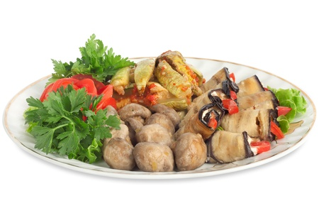Vegetable marrows, eggplants, mushrooms with tomatoes and parsley