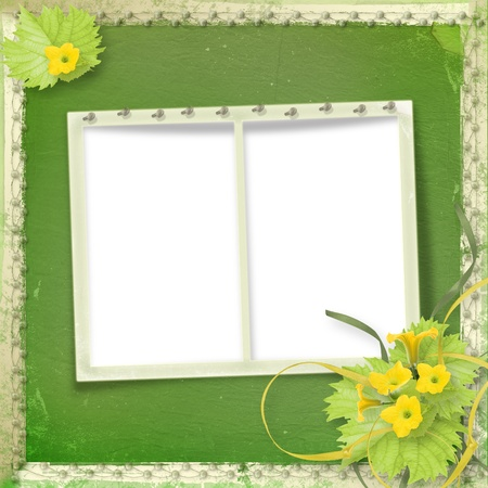 casement: Grunge paper frames with flowers pumpkins and ribbons Stock Photo