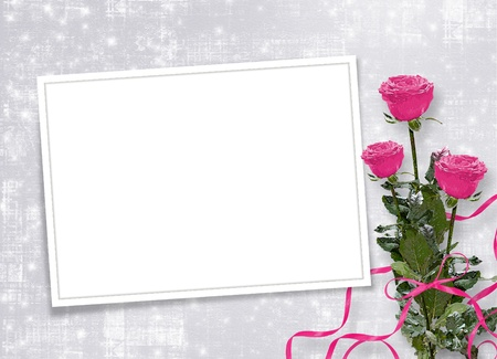 Card for congratulation or invitation with pink roses photo
