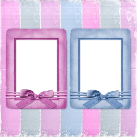 Card for congratulation or invitation with frames and bows photo