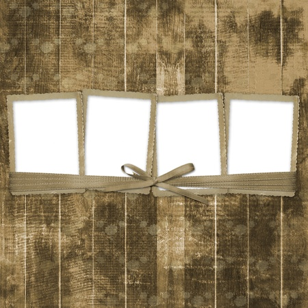 Four frames with ribbons and bow to old photos  Stock Photo