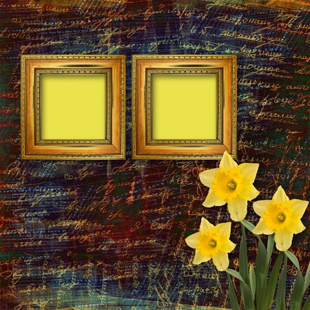 Old wooden frame for photo with bunch of flower Stock Photo - 9831895